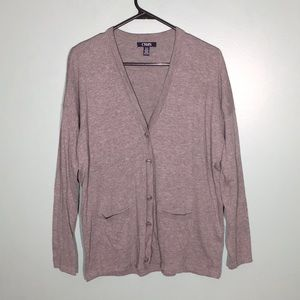 Heather Gray Chaps Button Down Cardigan